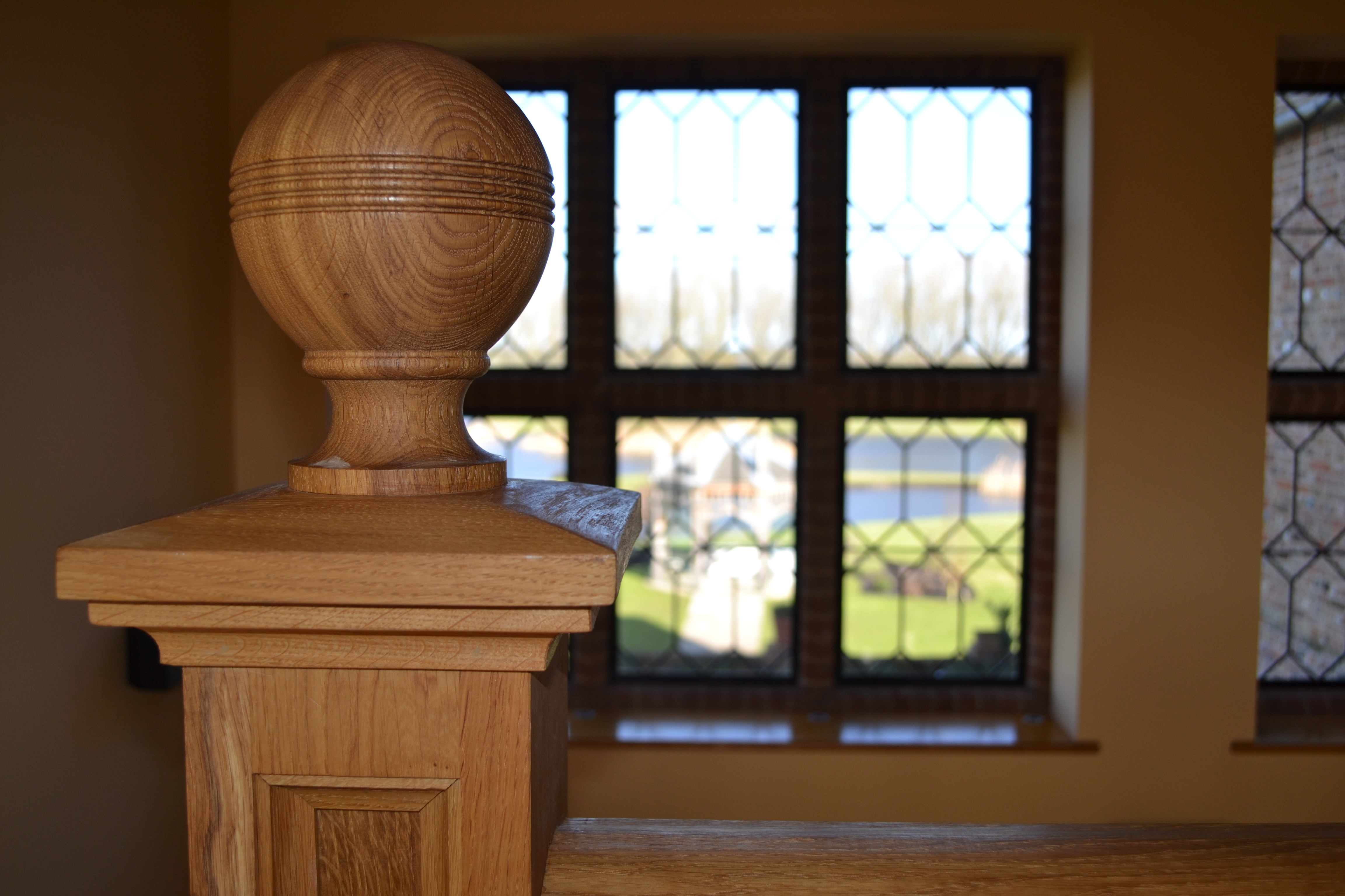 Turned oak Newel cap
